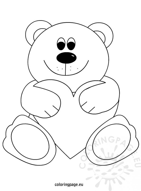 595x804 Teddy Bear Heart Coloring Page