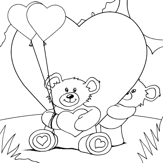 551x551 Teddy Bears And Hearts Coloring Page