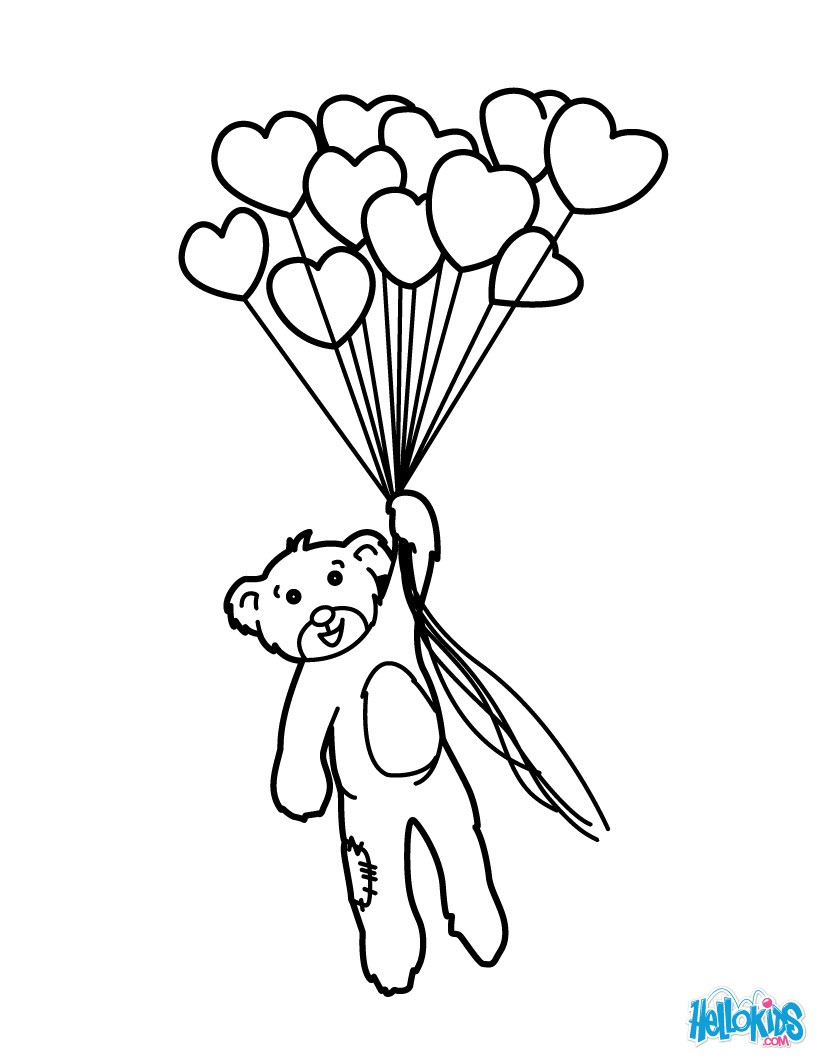 820x1060 Bunch Of Heart Balloons Coloring Pages