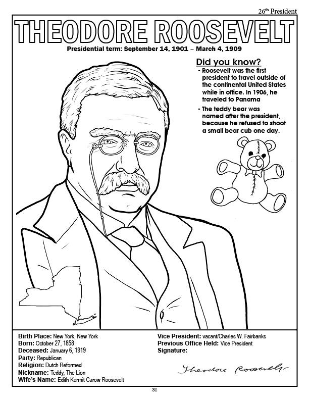 612x792 Theodore Roosevelt Coloring Page Coloring Books American
