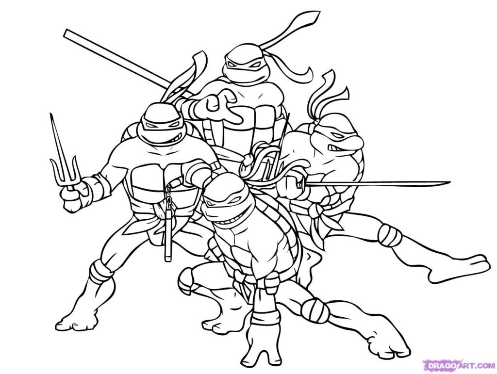 1024x771 Simple Teenage Mutant Ninja Turtles Free Coloring Pages Teenage