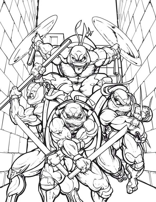 600x776 Teenage Mutant Ninja Turtles In The Alley Coloring Page