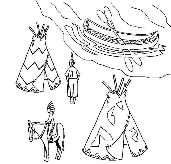 600x577 Native American Village On Native American Day Coloring Page