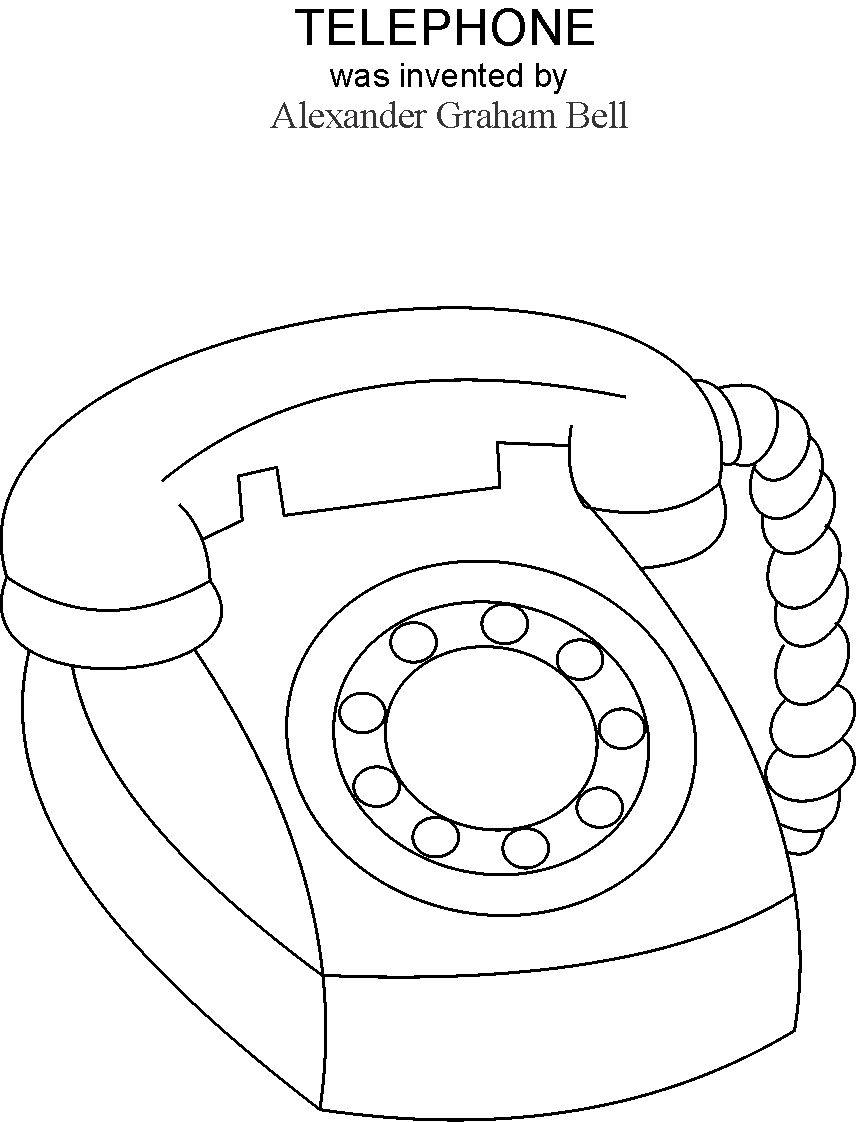856x1122 Telephone Coloring Printable Page