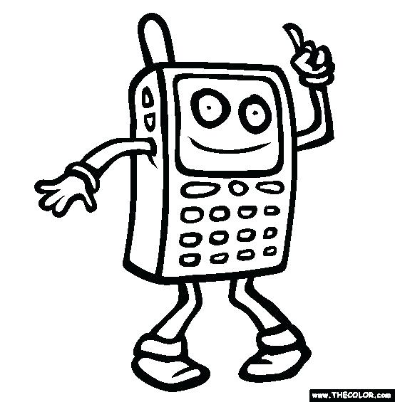 554x565 Cell Phone Coloring Page Colouring Cell Phone Sally Coloring Pages