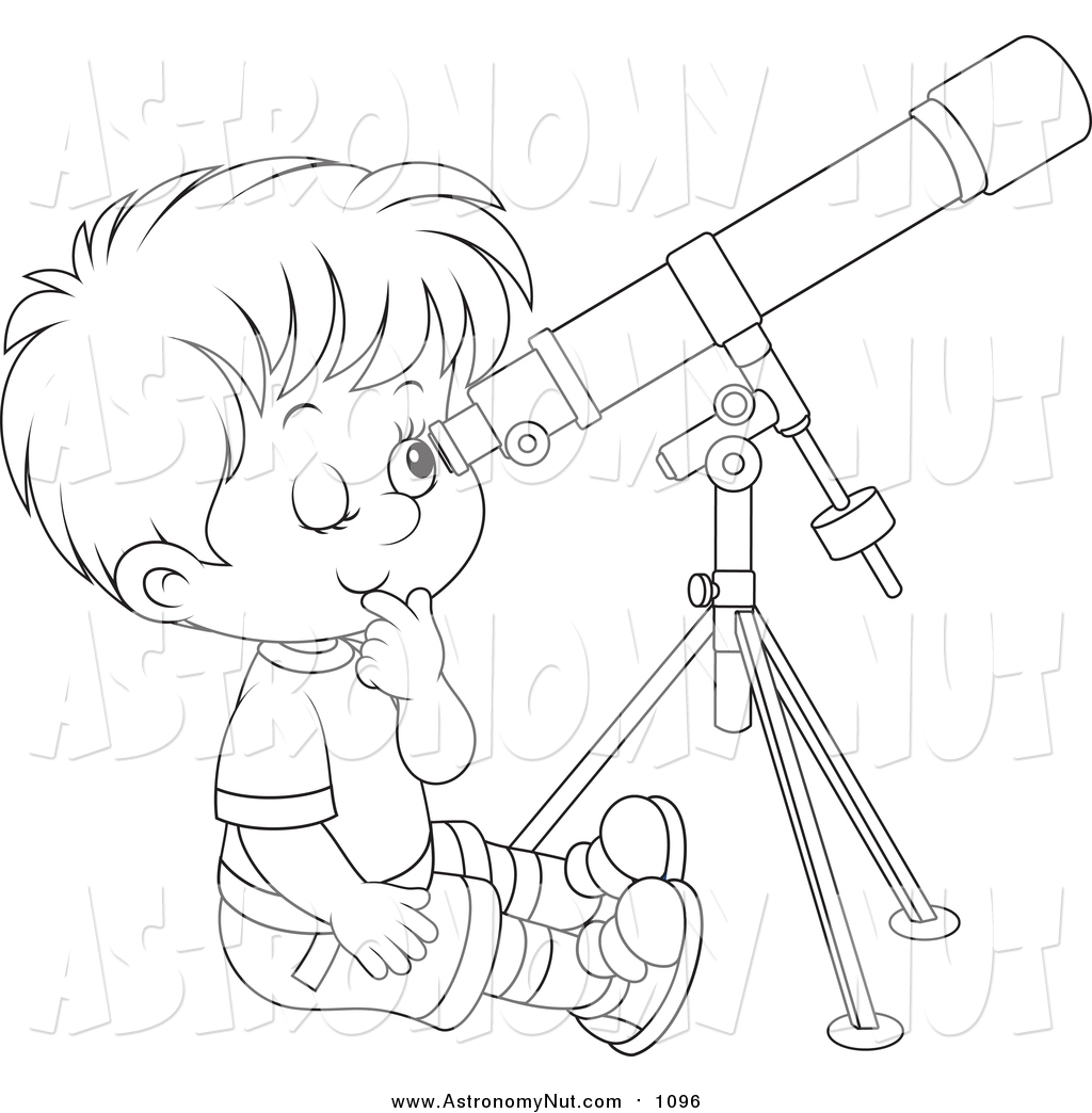 1024x1044 Clipart Of A Lineart Boy Looking Through A Telescope