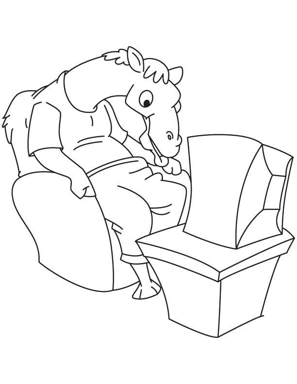 612x792 Tv Coloring Page Camel Watching Coloring Page Tv Character