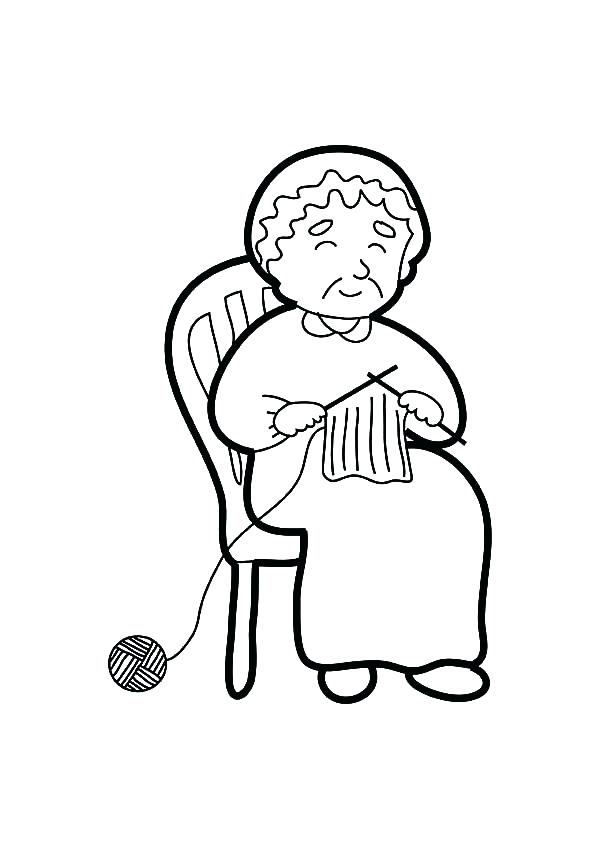 600x849 Tv Coloring Page Grandmother Knitting Coloring Pages Tv Show