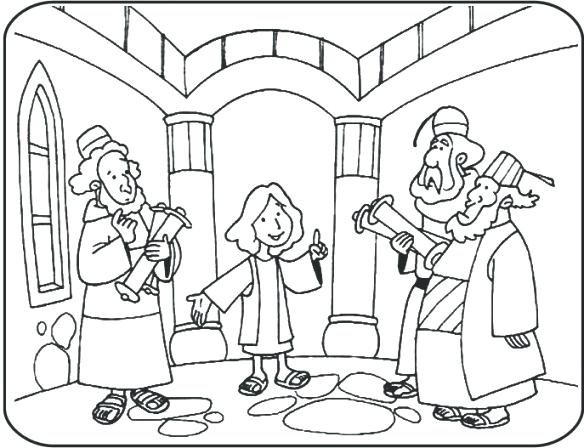 584x448 Jesus At Temple Coloring Page At Temple Craft