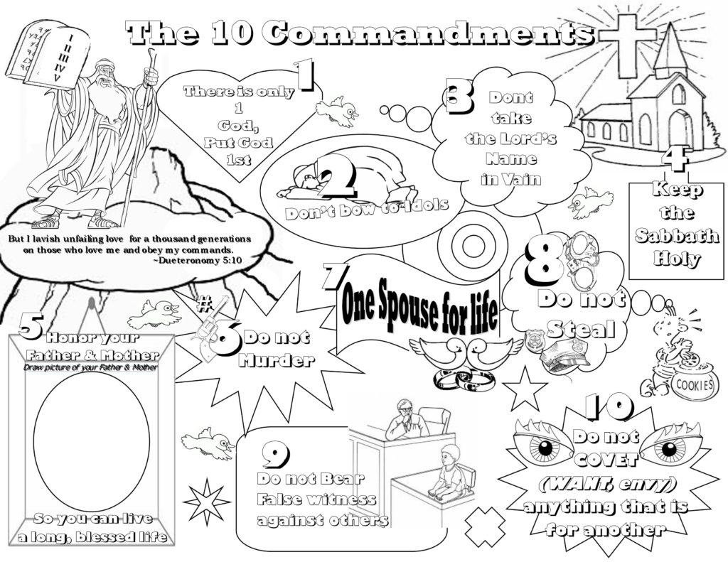 Ten Commandments Coloring Pages For Preschoolers