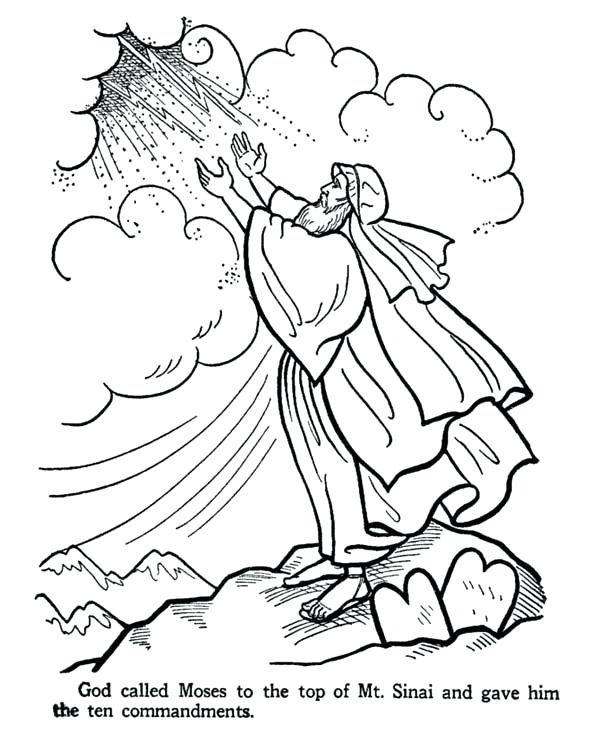 600x734 On The Top Of Mount Receive The Ten Commandments Free Coloring