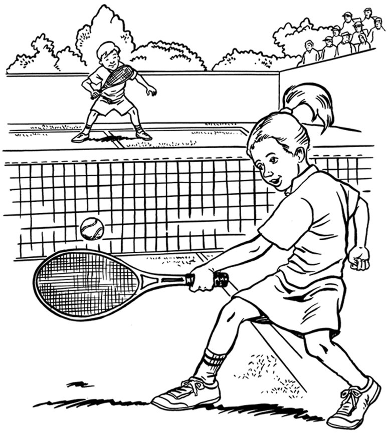 772x877 Tennis Coloring Pages Coloring Activity Pages Boy Girl Playing