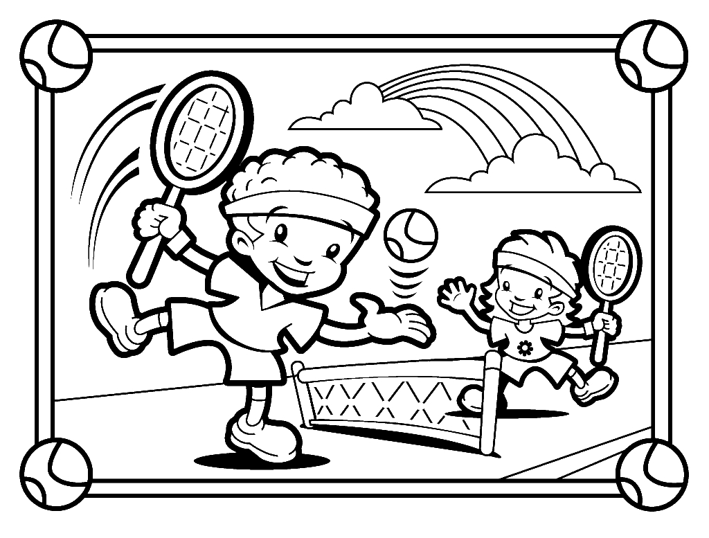 1024x777 Tennis Coloring Pages Free