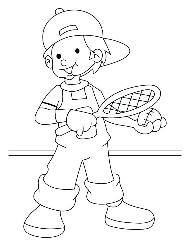 612x792 Tennis Coloring Pages Lawn Tennis Player Coloring Page Tennis