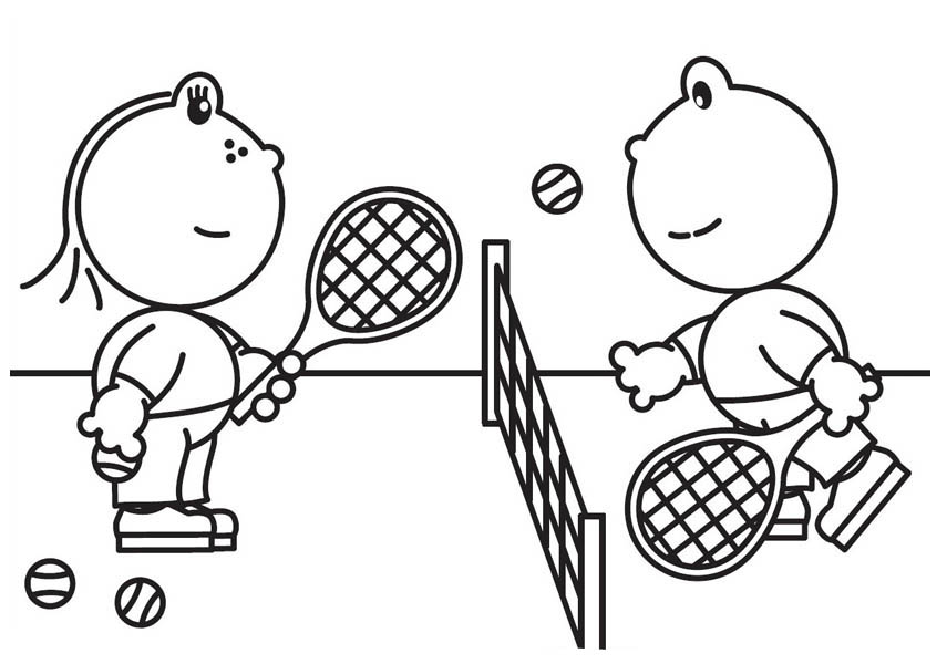 855x600 Frokkie And Lola Playing Tennis Coloring Pages Batch Coloring