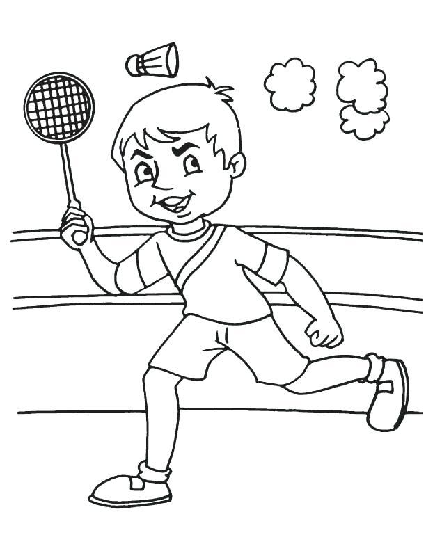 Girl Badminton Tennis Coloring Page | 792x612