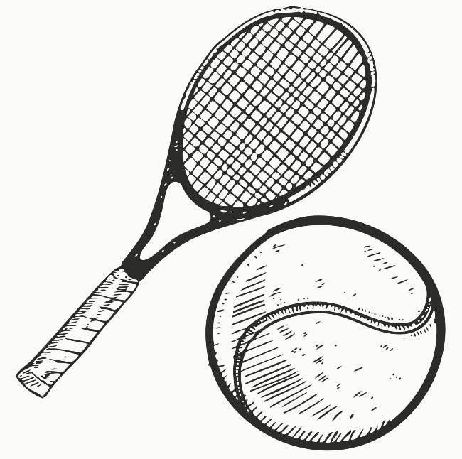 650x646 Tennis Ball Racquet Printable Image Illustration Sketch For Tennis