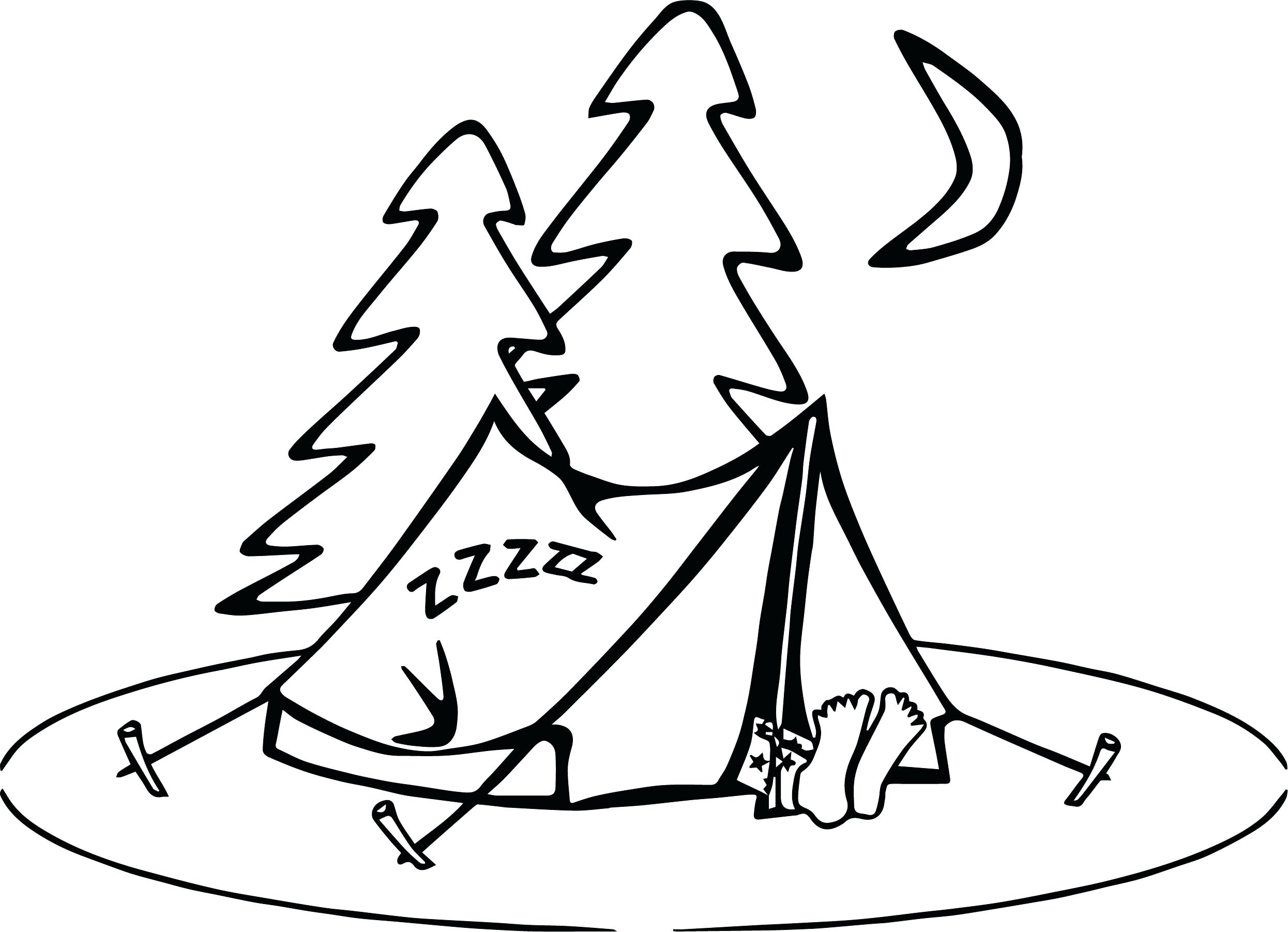 2491x1802 Coloring Pages For Kids Disney Camping Sleeping Page Together