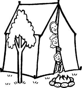 279x300 Family Camping Coloring Page For Kids
