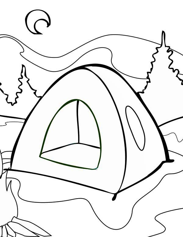 600x776 Summer Tent On Summer Camp Coloring Page