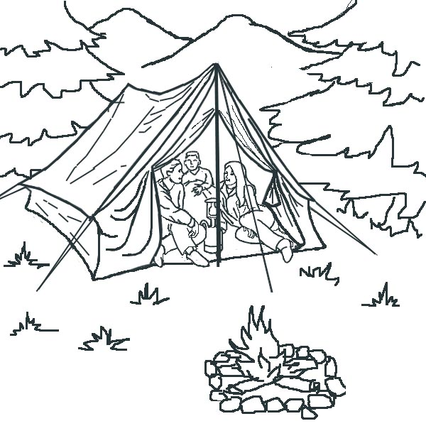 600x600 Tent Coloring Page Coloring Page