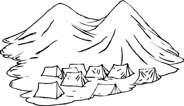 600x348 Tents Under Active Volcano Coloring Page