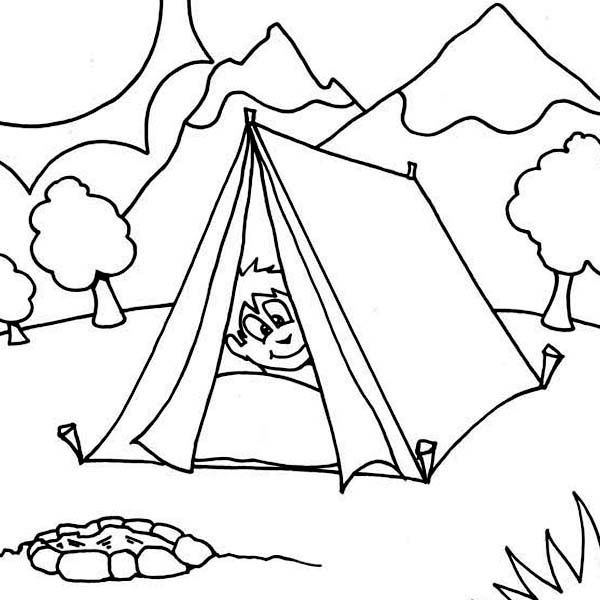 600x600 Boy Sleeping At Camping Tent Coloring Page On Tent Coloring Page
