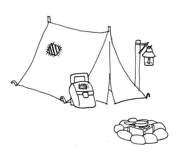 600x524 Camping Tent And Campfire Coloring Page Coloring Sun