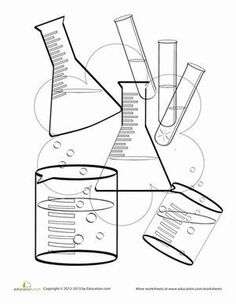 236x304 Science Coloring Page Test Tubes, Chemistry And School