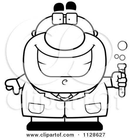 450x470 Cartoon Clipart Of A Black And White Happy Test Tube Character