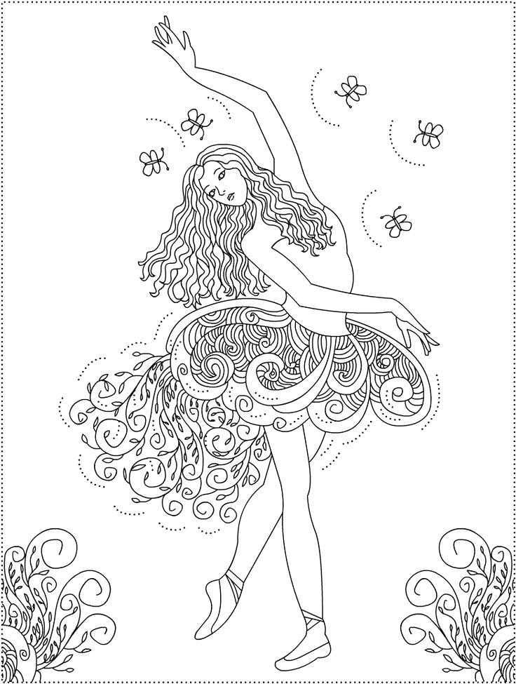 736x975 Ballerina Fifth Position Ballet Coloring Page Texture Book Tulle