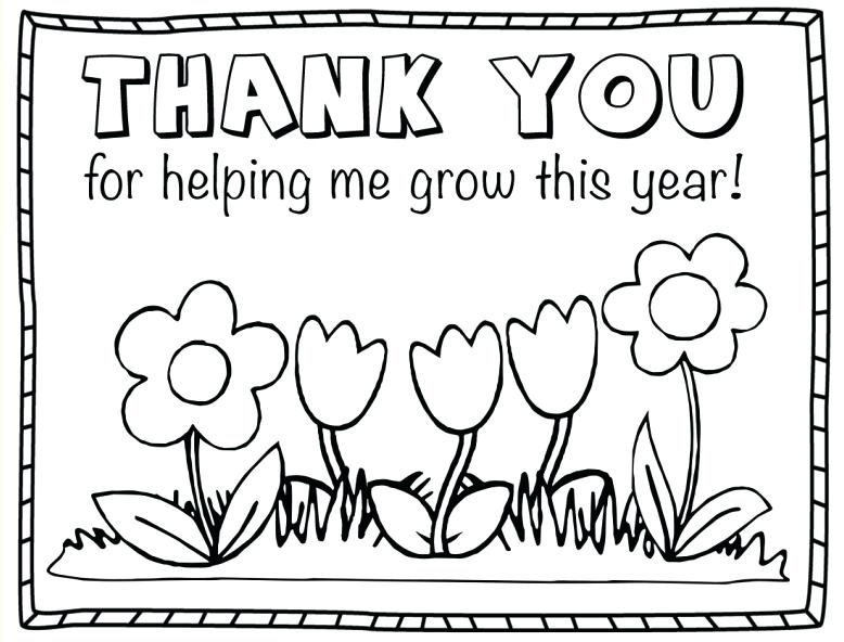 Thank You Card Coloring Page