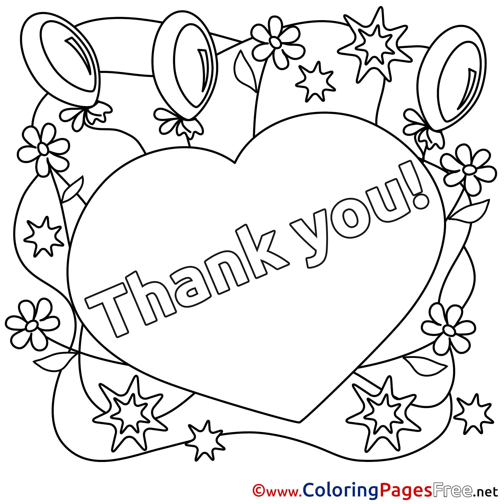 2001x2001 Heart Balloons For Kids Thank You Colouring Page