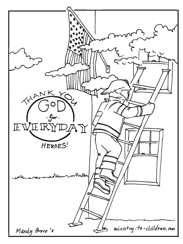 767x1024 Firefighter Coloring Page