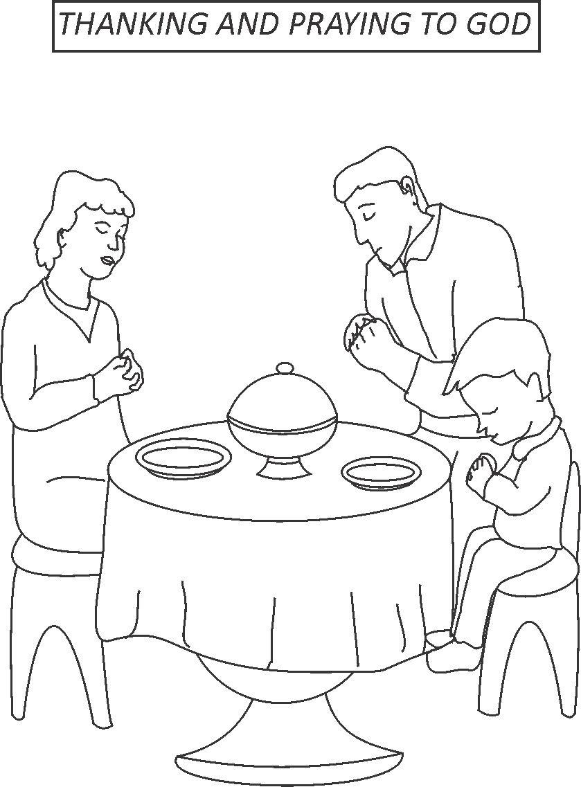 839x1137 Thanking And Praying To God Coloring Page
