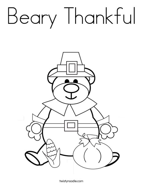 468x605 Beary Thankful Coloring Page