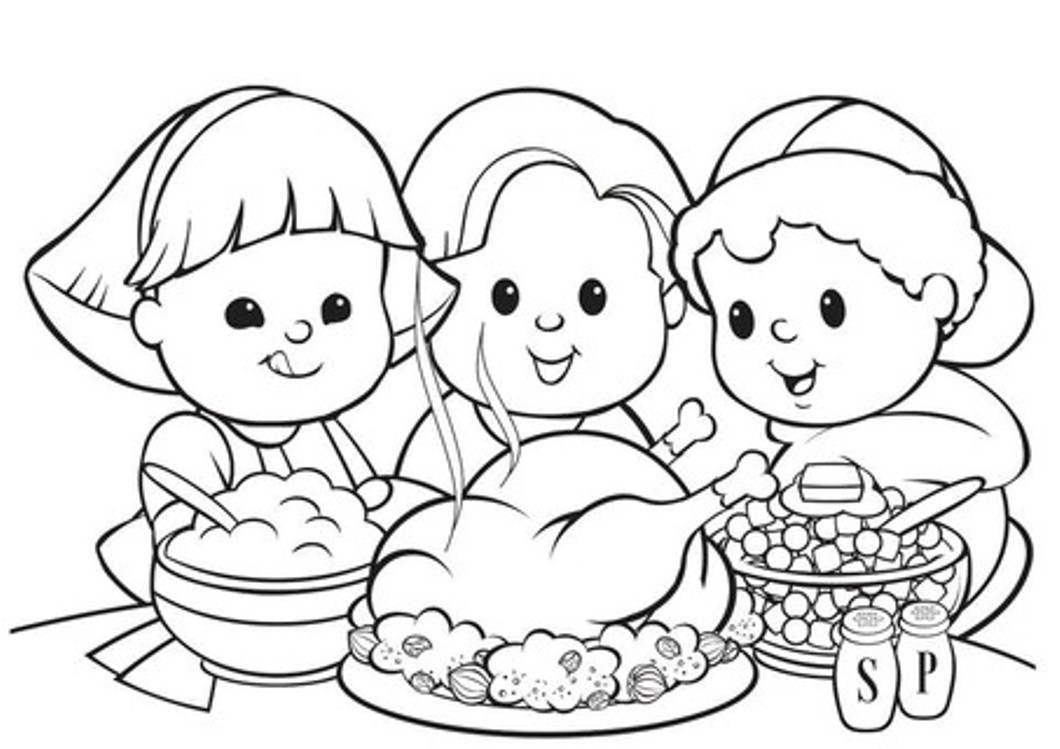1060x749 Top Coloring Pages For Kids Thanksgiving Meal For Thanksgiving