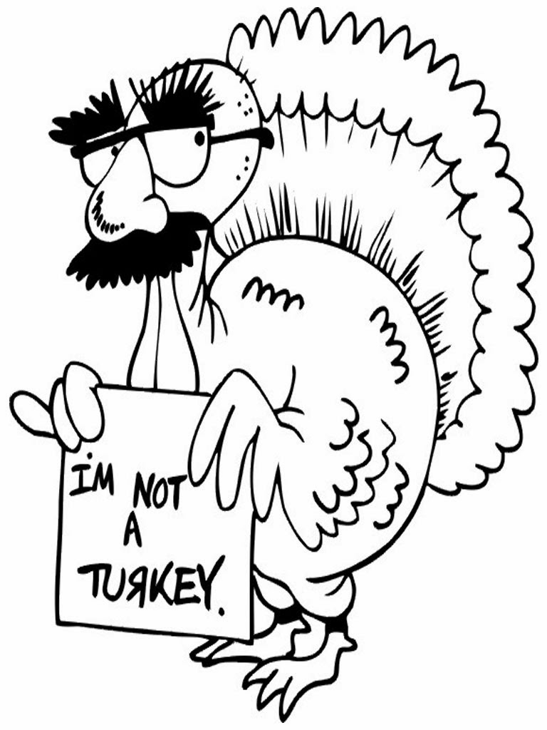 768x1024 Funny Turkey Thanksgiving Coloring Page