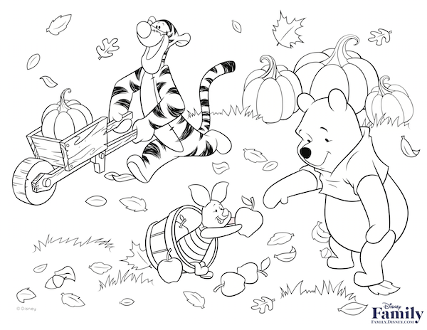 600x464 Precious Thanksgiving Coloring Pages Disney Characters