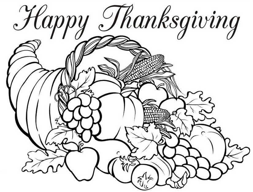 825x627 Adult Coloring Page Thanksgiving Horn Of Plenty