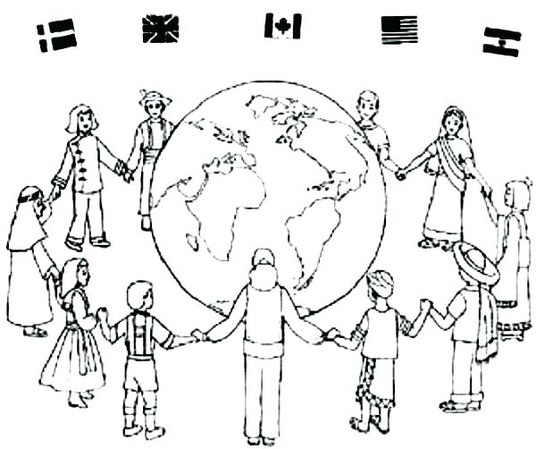 600x502 Coloring Pages Of Children Children Of The World Coloring Pages