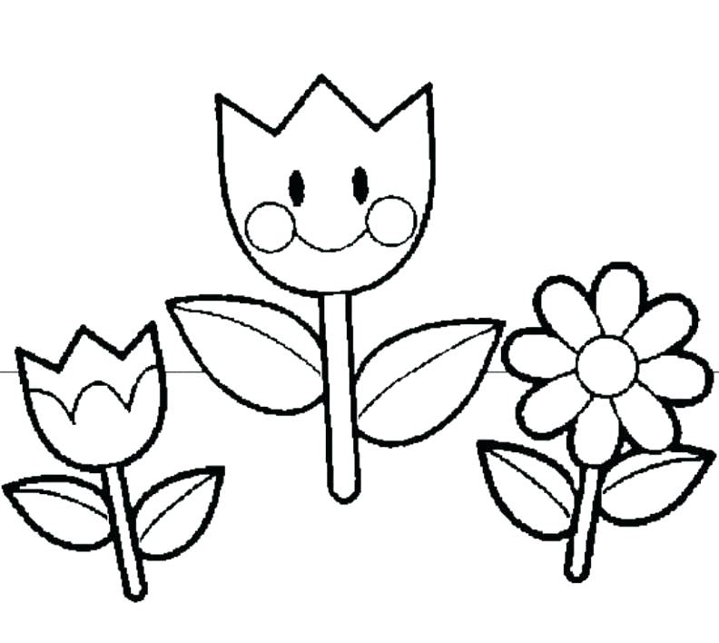 792x708 Easy Coloring Pages For Preschoolers Drawings Of Spring Flowers