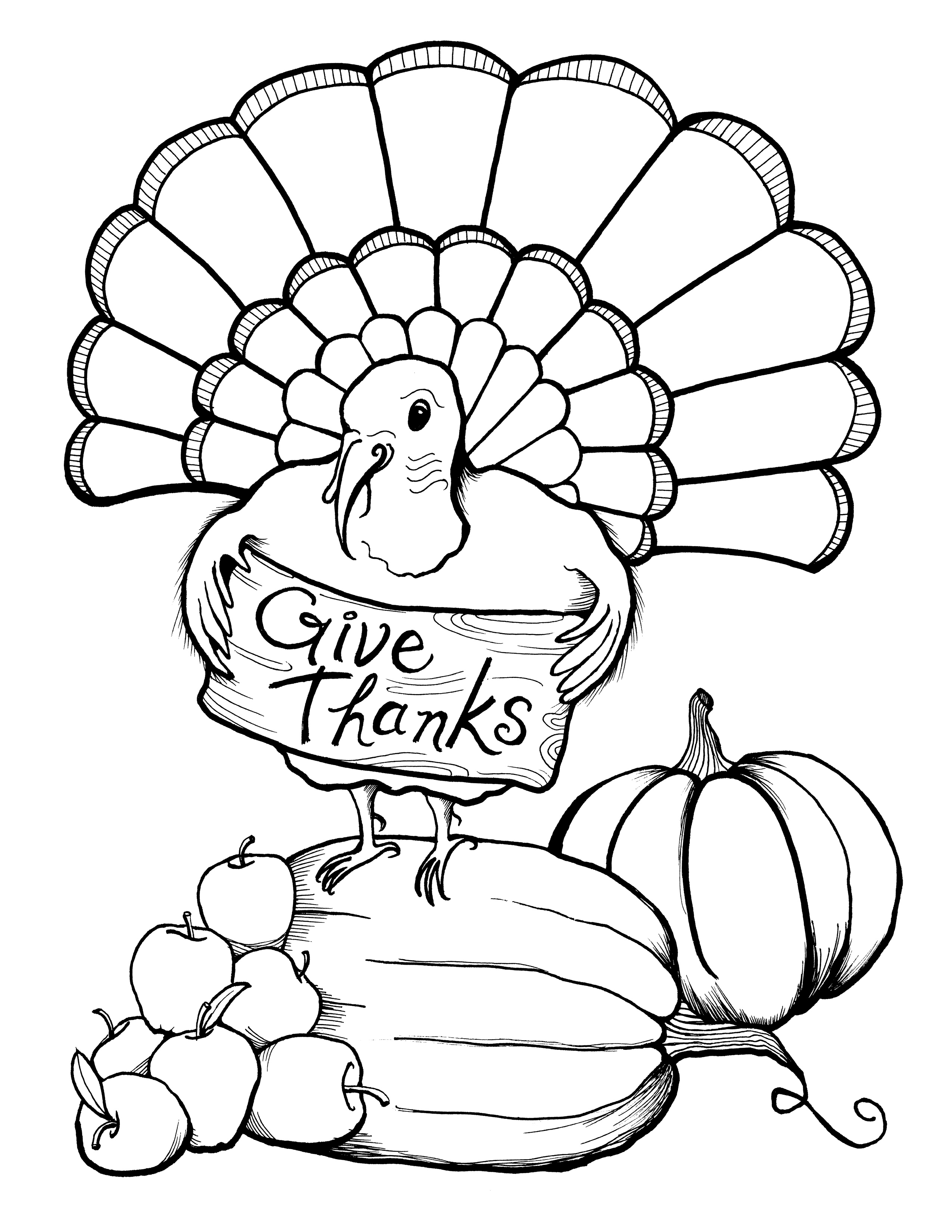 2550x3300 Printable Thanksgiving Coloring Page