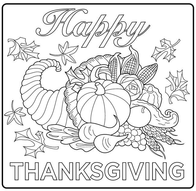 650x635 Harvest Cornucopia Drawing A Simple Coloring Page For Kids