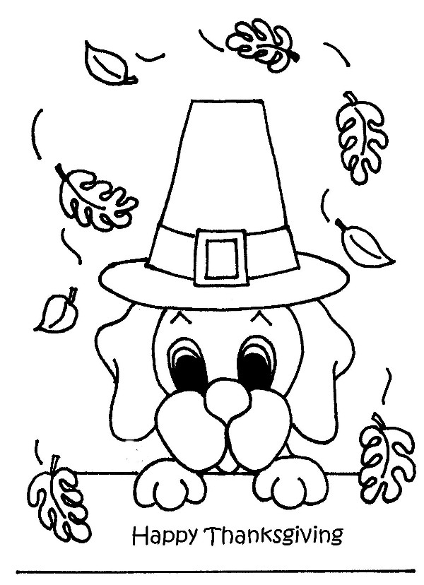 600x828 Puppy Celebrating Thanksgiving Day Free Coloring Page Animals