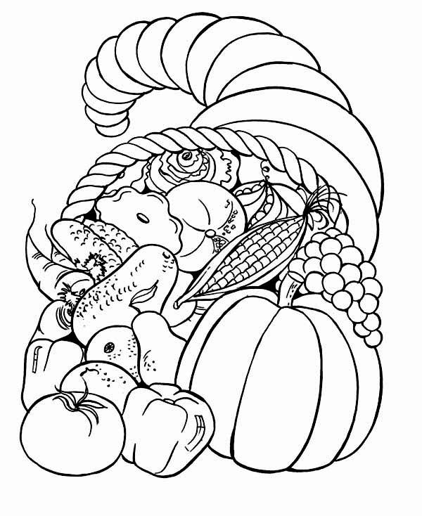 600x734 Thanksgiving Basket Coloring Page Thanksgiving Day, Full