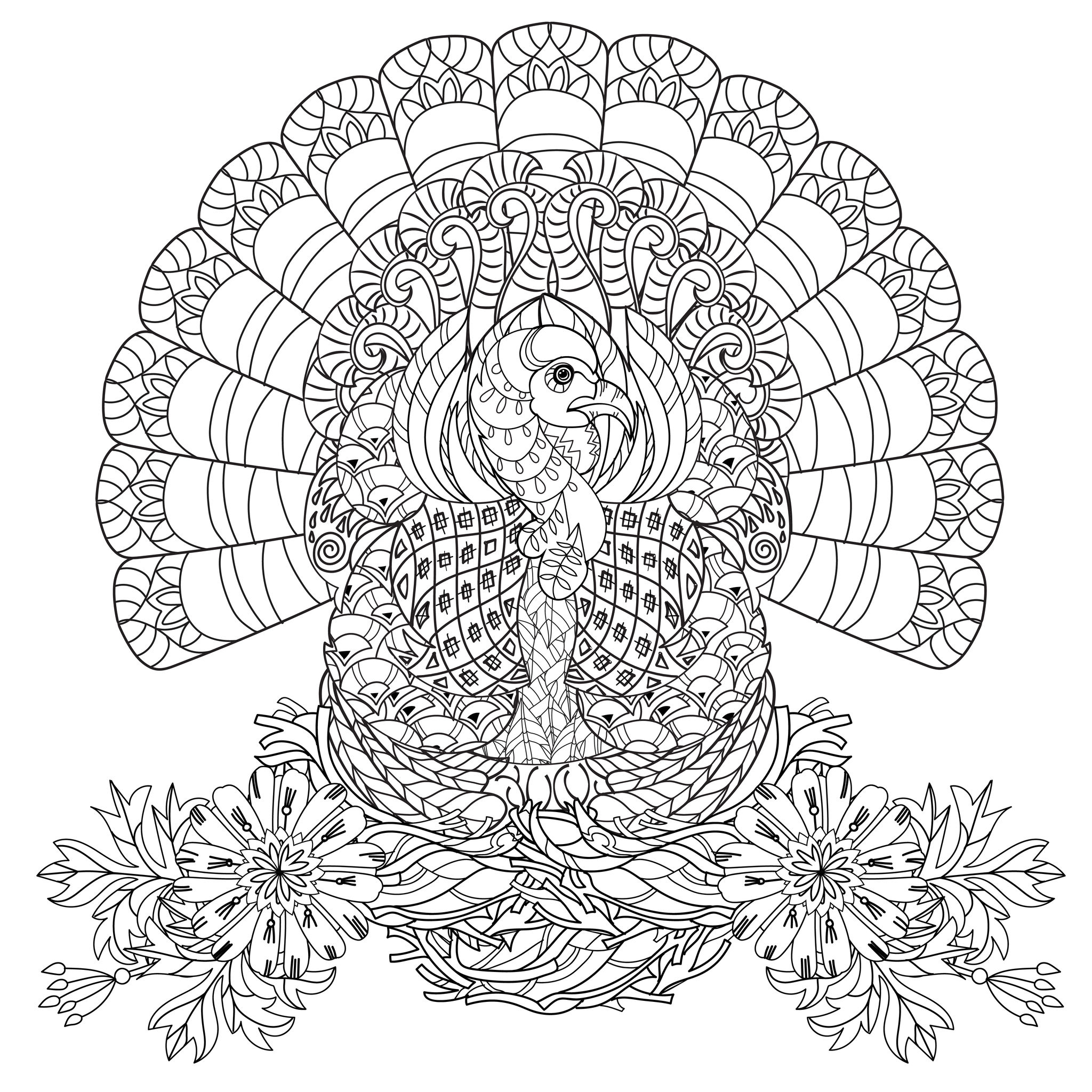 2048x2048 Free Adult Thanksgiving Coloring Pages