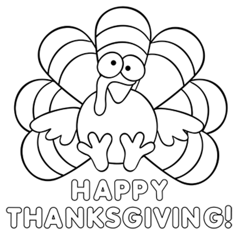 768x770 Happy Thanksgiving Coloring Page