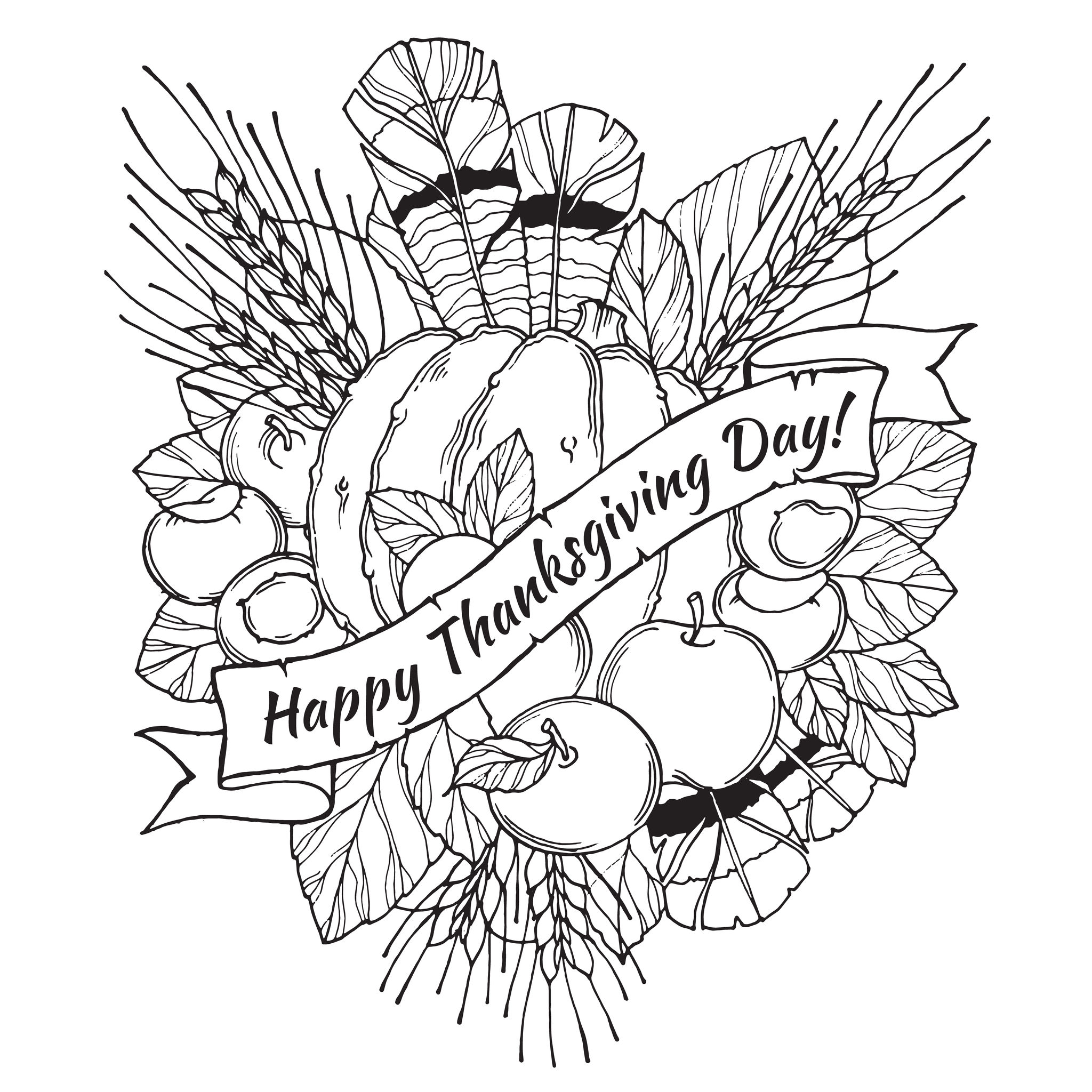 Thanksgiving Day Coloring Pages Free at GetDrawings.com ...