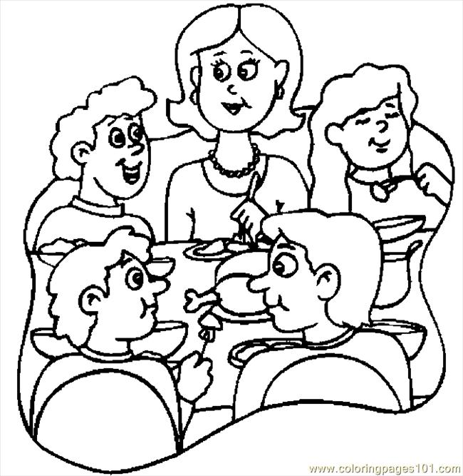 650x667 Thanksgiving Dinner Coloring Page